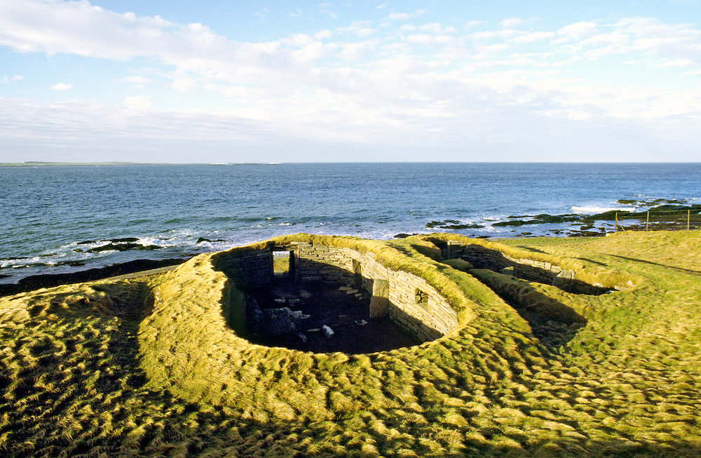 The Knap of Howar. Prehistoric stone house on island of Papa Westray, Orkney, Scotland, UK. Oldest upstanding house in Europe