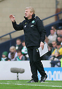 Celtic manager Gordon Strachan during the League Cup final between Rangers and Celtic at Hampden Park -<br /> David Young Universal News And Sport