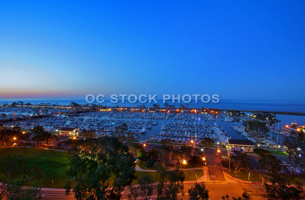 Boats Docked in Dana Point Harbor at Dusk