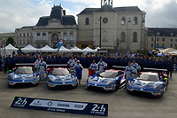 Olivier Pla (FRA) / Stefan Mucke (DUE) / Billy Johnson (USA) #66 Marino Franchitti (GBR) / Andy Priaulx (GBR) / Harry Tincknell (GBR) #67 Joey Hand (USA) / Dirk Muller (DEU) / Sebastien Bourdais (FRA) #68 and Ryan Briscoe (AUS) / Richard Westbrook (GBR) / Scott Dixon (NZL) #69 Ford Chip Ganassi Racing Team USA Ford GT,  during the Le Mans 24 Hr June 2016 at Circuit de la Sarthe, Le Mans, Pays de la Loire, France. June 12 2016. World Copyright Peter Taylor/PSP.