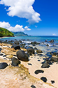 Lava rocks on Hideaways Beach, Princeville, Island of Kauai, Hawaii