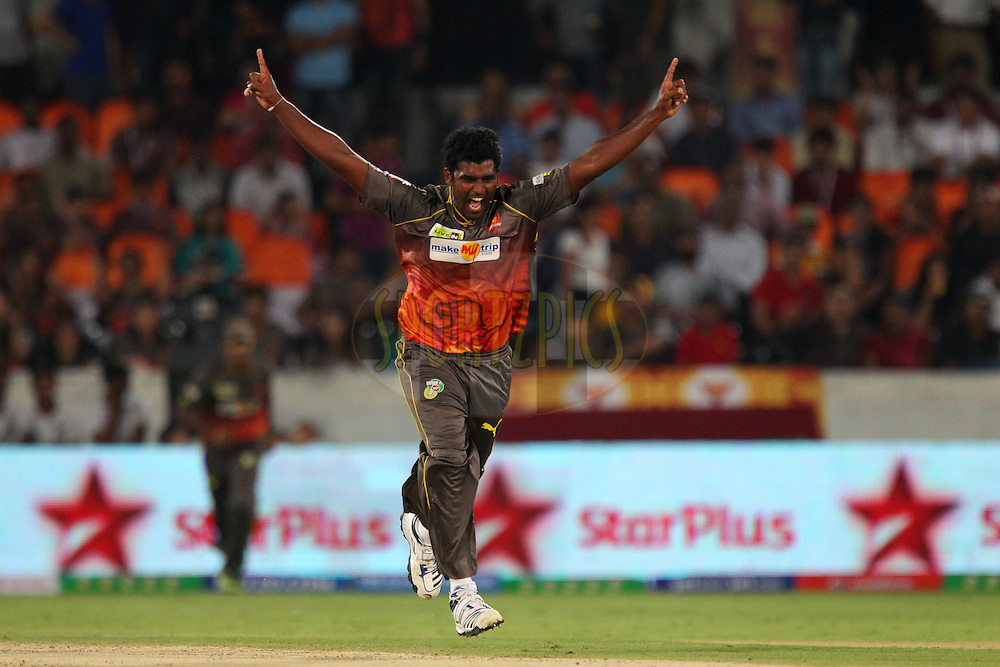 Thisara Perera celebrates the wicket of Robin Uthappa during match 3 of of the Pepsi Indian Premier League between The Sunrisers Hyderabad and The Pune Warriors held at the Rajiv Gandhi International  Stadium, Hyderabad  on the 5th April 2013..Photo by Ron Gaunt-IPL-SPORTZPICS..Use of this image is subject to the terms and conditions as outlined by the BCCI. These terms can be found by following this link:..http://www.sportzpics.co.za/image/I0000SoRagM2cIEc