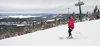 Enjoying the new snow that fell at Gunstock Mountain Resort during Massachusetts Vacation Week.