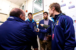 Andrew Kitchener of Worcester Warriors and Graham Kitchener of Leicester Tigers are interviewed together after taking on each other in the Premiership Rugby Cup match between their sides - Mandatory by-line: Robbie Stephenson/JMP - 03/11/2018 - RUGBY - Welford Road Stadium - Leicester, England - Leicester Tigers v Worcester Warriors - Gallagher Premiership Rugby