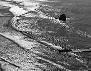 Aerial of fishing boat coming back from sea.<br /> near Weligama.