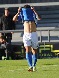 Eatleighs Stuart Fleetwood can't believe it has his goal is ruled offside, Barnet v Eastleigh, Vanarama Conference, Saturday 4th October 2014