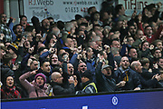 Newport fans celebrate the goal by  Newport  Padraig Amond (9) during the The FA Cup 4th round match between Newport County and Tottenham Hotspur at Rodney Parade, Newport, Wales on 27 January 2018. Photo by Gary Learmonth.