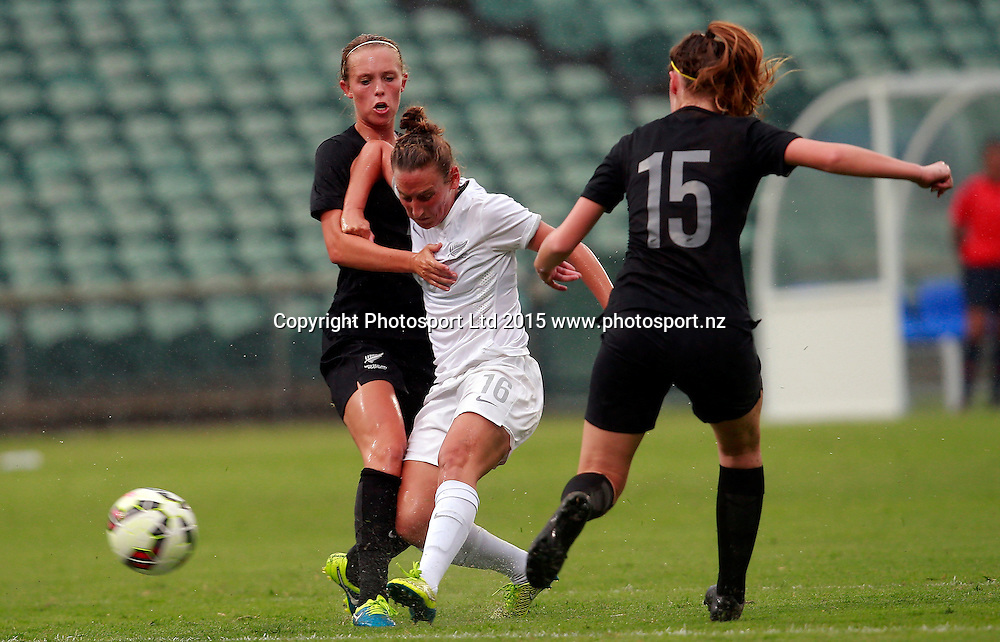 Ferns Annalie Longo finds a gap and shoots. Football Friendly, Football Ferns v Invitational XI, QBE Stadium Auckland, Tuesday 26th January 2016. Copyright Photo: Shane Wenzlick