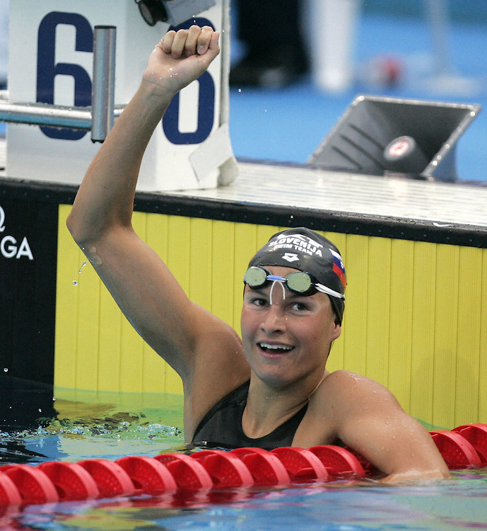 Slovenia's Sara Isakovic celebrates after finishing second in the semi-final of the women's 200m Freestyle  at the FINA World Championships in Montreal, Canada Tuesday 26 July, 2005.