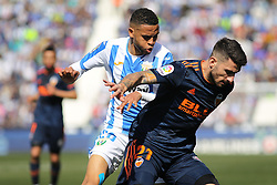 February 24, 2019 - Leganes, Madrid, Spain - En-Nesyri of Leganes and Piccini  of Valencia in action during La Liga Spanish championship, football match between Leganes and Valencia, February 24th, Butarque stadium, in Leganes, Madrid, Spain. (Credit Image: © AFP7 via ZUMA Wire)