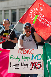 © Licensed to London News Pictures. 07/08/2018. London, UK.  Striking cleaners from the union, United Voices of the World picket outside the Ministry of Justice Headquarters in London. The cleaners strike is taking place over a three day period and covers cleaners working under the Amey, OCS and Compas contract at three Ministry of Justice sites, large hospitals, and Kensington and Chelsea Town Halls, where the cleaners are demanding better pay and employment rights, including sick pay, living wage and equality with directly employed staff.  Photo credit: Vickie Flores/LNP