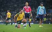 Australia's fly half Bernard Foley preparing to take the conversion after Australia scored their first try during the Rugby World Cup Pool A match between England and Australia at Twickenham, Richmond, United Kingdom on 3 October 2015. Photo by Matthew Redman.