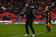 Joey Barton, Manager of Fleetwood Town shouts out defensive instructions during the EFL Sky Bet League 1 match between Doncaster Rovers and Fleetwood Town at the Keepmoat Stadium, Doncaster, England on 6 October 2018.