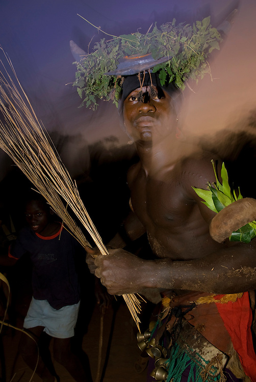 Bijagos Islands in Guinea Bissau, traditional dance and mask by night.