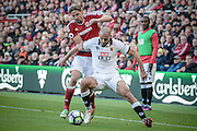 Nordin Amrabat (Watford) holds off Gaston Ramirez (Middlesbrough) during the Premier League match between Middlesbrough and Watford at the Riverside Stadium, Middlesbrough, England on 16 October 2016. Photo by Mark P Doherty.