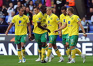 Picture by Chris Donnelly/Focus Images Ltd. 07500 903009 .17/9/11.Bradley Johnson of Norwich celebrates scoring the second goal during the Barclays Premier League match at Reebok stadium, Bolton.
