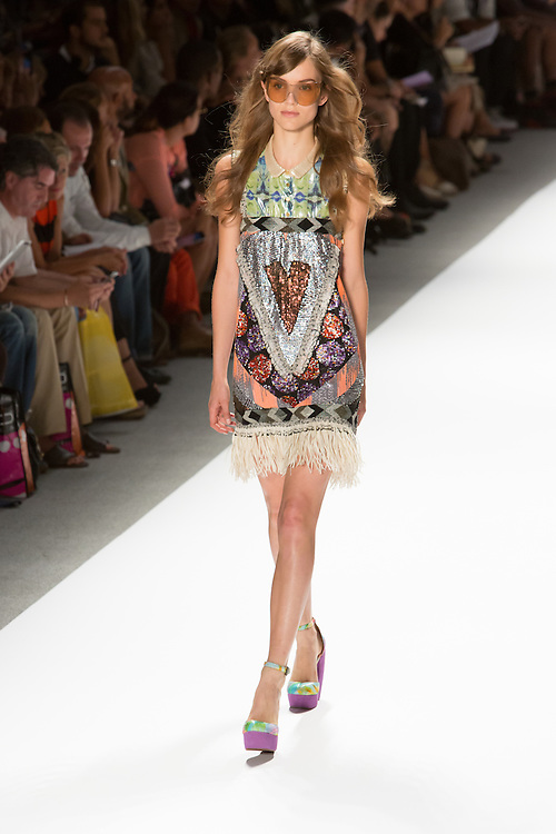 Fringed dress with sequins and Peter Pan collar. By Custo Barcelona at the Spring 2013 Fashion Week show in New York.