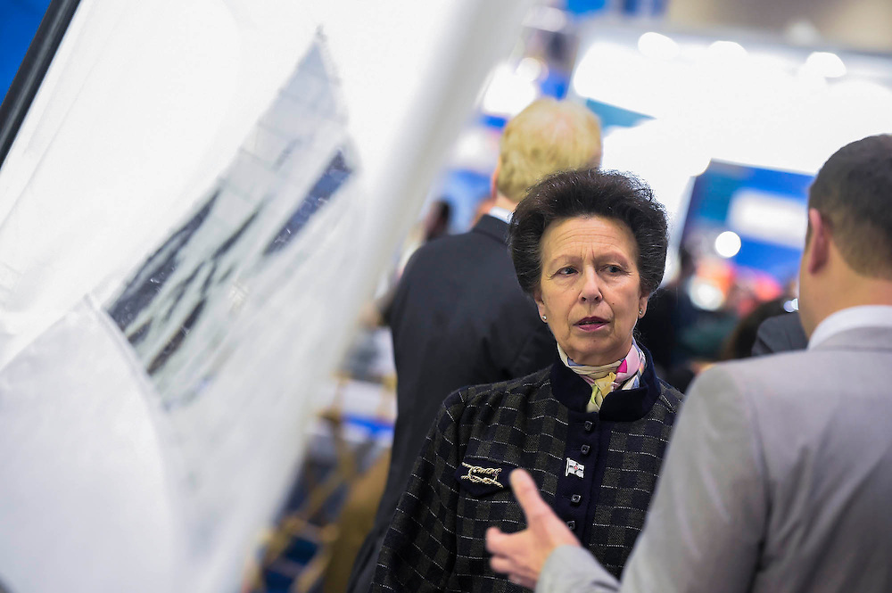 Here on the RS sailing stand. HRH Princess Anne attend the show with her husband.  They make a tour of the show which includes awarding the Yachtmaster of the Year award, on the RYA stand, as well as meeting Sir Ben Ainslie, on his BAR stand. The CWM FX London Boat Show, taking place 09-18 January 2015 at the ExCel Centre, Docklands, London. 09 Jan 2015.