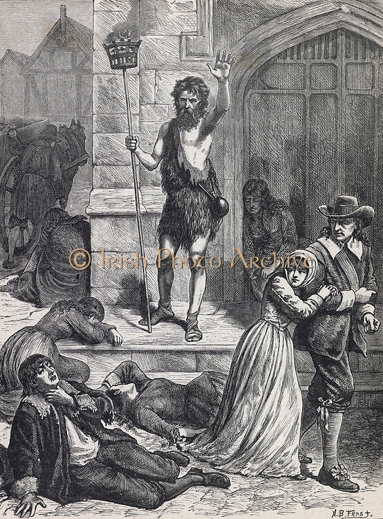 The Great Plague of London, 1665.   The Manic preaching doom and disaster. Engraving c1880.