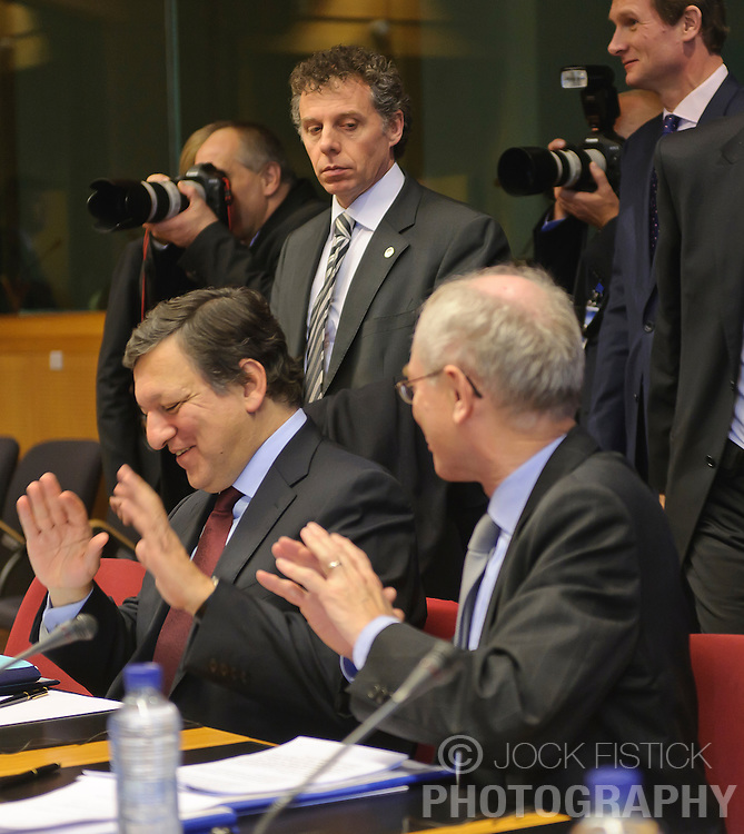 "Jose Manuel, Barroso, president of the European Commission, left, speaks with Herman Van Rompuy, president of the European Council, during the EU-Russia summit at the European Union council headquarters in Brussels, Belgium, on Tuesday, Dec. 7, 2010. Russia will move a step closer to membership in the World Trade Organisation today when it signs an agreement with the European Union settling ""key questions"" that have hampered its accession bid for years. (Photo © Jock Fistick)"