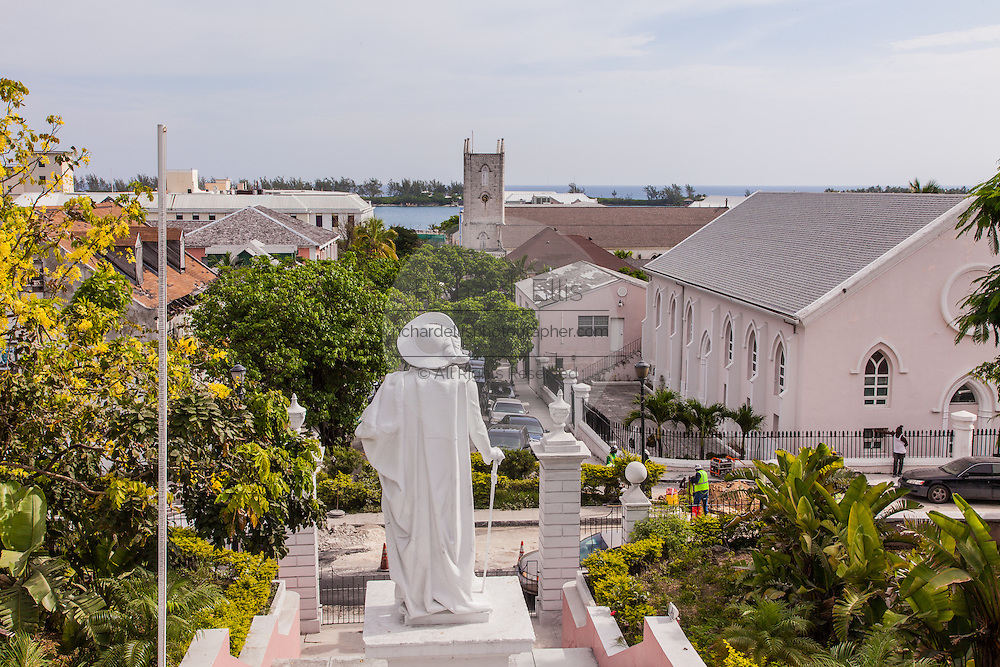 View of Nassau from the Government House with Christopher Columbus statue in Nassau , Bahamas.