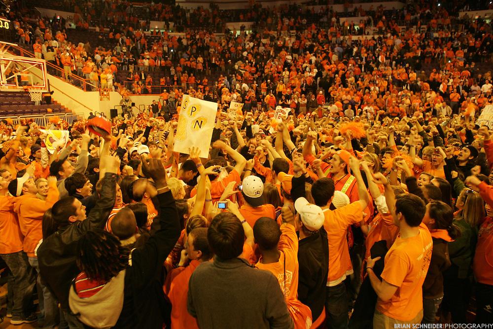 Jan 13, 2010; Clemson, SC, USA; Clemson Tigers fans rush the court after beating the North Carolina Tar Heels 83 to 64 at Littlejohn Coliseum. Mandatory Credit: Brian Schneider-www.ebrianschneider.com