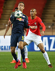 FONTVIEILLE, Nov. 22, 2017  Fabinho (R) of Monaco competes with Yussuf Poulsen of Leipzig during their Group G match of UEFA Champions League in Fontvieille, Monaco on Nov. 21, 2017. Monaco was defeated 1-4. (Credit Image: © Serge Haouzi/Xinhua via ZUMA Wire)