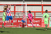 Cheltenham Town's Ella Hitchcox shoots at goal scores a goal 1-0 during the Gloucestershire FA Trophy match between Cheltenham Town Ladies FC and Forest Green Rovers Ladies FC at LCI Rail Stadium, Cheltenham, England on 19 November 2017. Photo by Shane Healey.