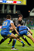 Matt Todd of the BNZ Crusaders is tackled near the try line during the Canterbury Crusaders v the Western Force Super Rugby Match. Nib Stadium, Perth, Western Australia, 8th April 2016. Copyright Image: Daniel Carson / www.photosport.nz