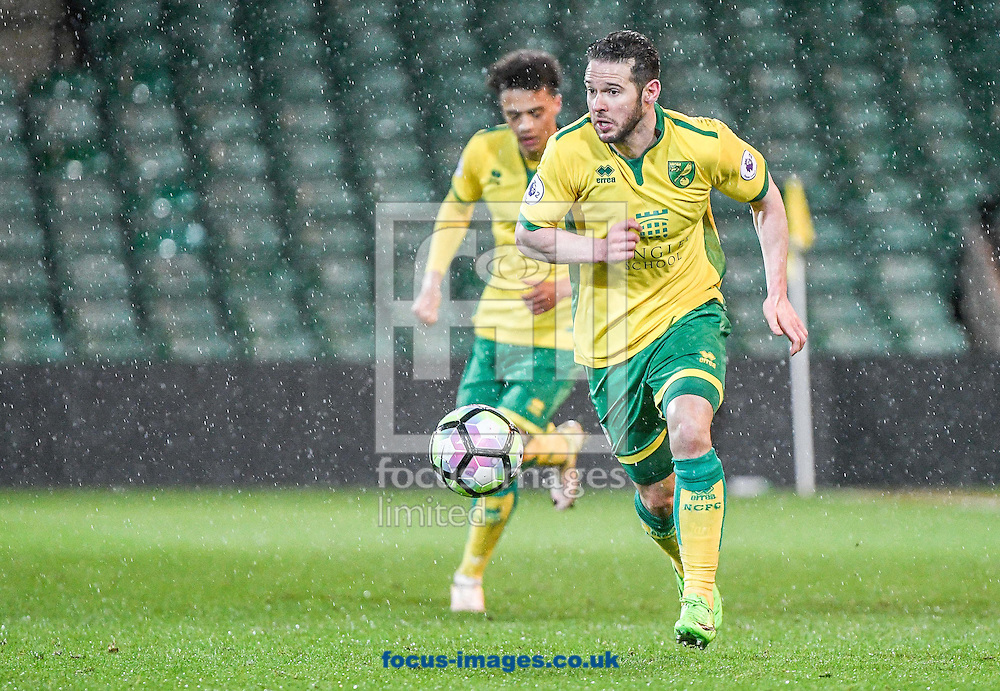 Matt Jarvis of Norwich City U23 and Dinamo Zagreb U23 during the Premier League International Cup Quarter-Final match at Carrow Road, Norwich<br /> Picture by Matthew Usher/Focus Images Ltd +44 7902 242054<br /> 27/02/2017