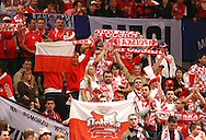 GEPA-30011012057 - WIEN,AUSTRIA,30.JAN.10 - SPORT DIVERS, HANDBALL - EHF Europameisterschaft, EURO 2010, Laenderspiel, Kroatien vs Polen. Bild zeigt Fans von Polen. Keywords: Fahne. Foto: GEPA pictures/ Walter Luger.FOT. GEPA / WROFOTO.*** POLAND ONLY !!! ***