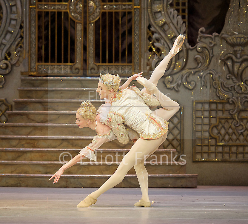 The Nutcracker<br /> <br /> Choreography by Peter Wright after Lev Ivanov<br /> Music by Tchaikovsky<br /> <br /> The Royal Ballet at the Royal Opera House, Covent Garden, London, Great Britain <br /> <br /> Pre-General Rehearsal <br /> <br /> 7 December 2015 <br /> <br /> Iana Salenko as Sugar Plum Fairy <br /> <br /> Steven McRae as The Prince                  <br /> <br /> <br /> <br /> <br /> Photograph by Elliott Franks <br /> Image licensed to Elliott Franks Photography Services