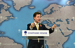 © Licensed to London News Pictures. 01/11/2012. London, UK Deputy Prime Minister Nick Clegg delivers a speech on Europe at Chatham House today 1st November 2012. Following the government's defeat on EU Budget Vote in the commons yesterday. Photo credit : Stephen Simpson/LNP
