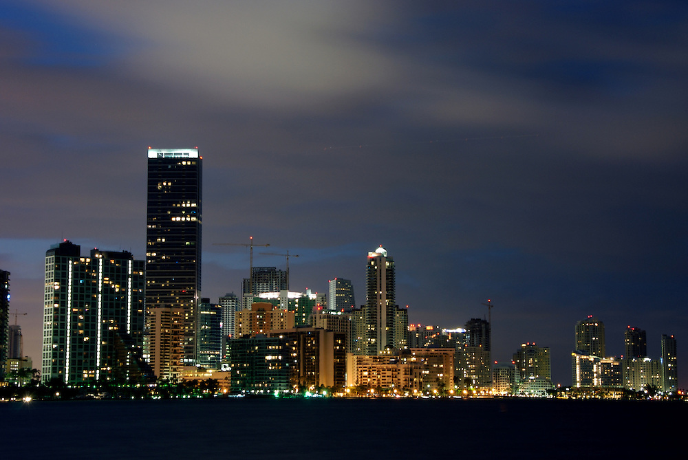 Buildings in Brickell Ave. in Miami at Night. This is a high profile residential area in Miami, the location offers view of Biscayne Bay.