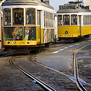 Trams in the streets of the Alfama district of Lisbon
