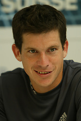 MUNICH, GERMANY - Tuesday, April 29, 2003: Tim Henman is all smiles in the press conference after winning his come-back match on clay 7-5, 4-6, 6-1 against Nicolas Lapentti (Ecuador) during the 1st Round of the BMW Open. (Pic by David Rawcliffe/Propaganda)