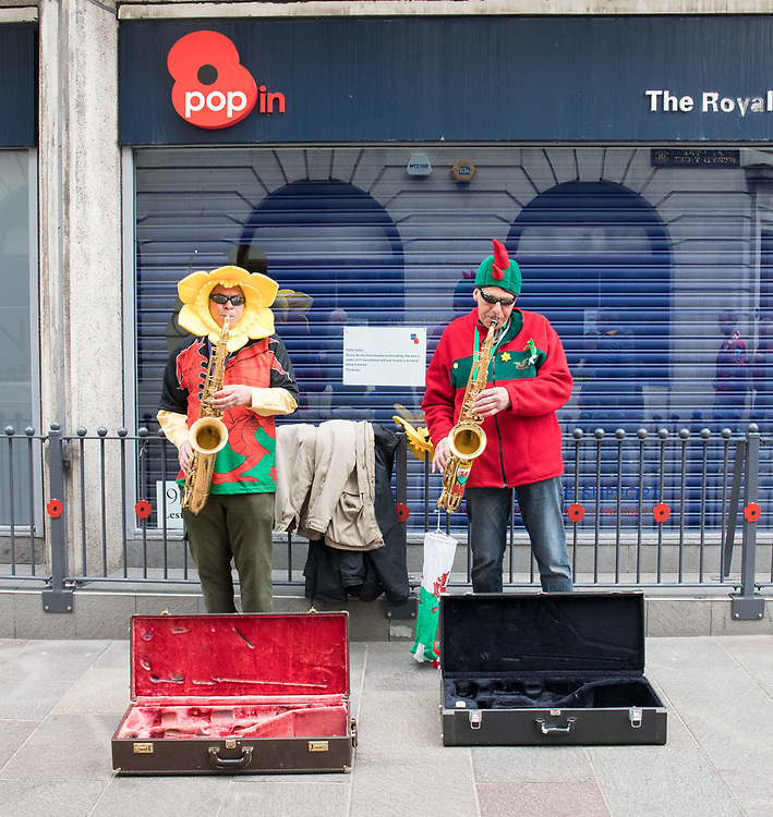 Buskers outside of the stadium<br /> <br /> Photographer Simon King/Replay Images<br /> <br /> Guinness PRO14 Round 21 - Dragons v Scarlets - Saturday 28th April 2018 - Principality Stadium - Cardiff<br /> <br /> World Copyright © Replay Images . All rights reserved. info@replayimages.co.uk - http://replayimages.co.uk