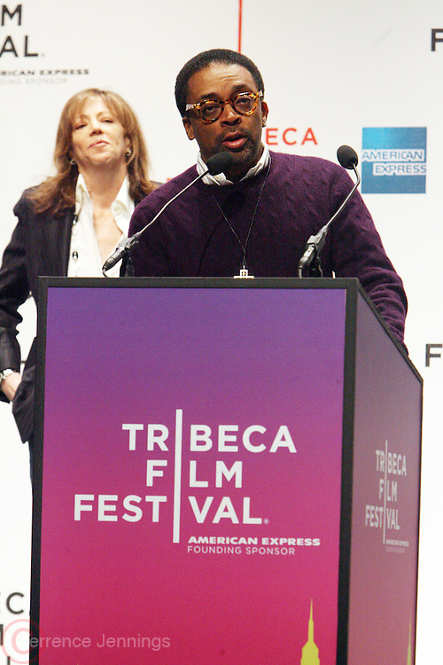 l to r: Jane Rosenthal and Spike Lee at The 2009 Tribeca Film Festival Opening Press Conference Kick-Off held at The Borough of Manhattan Community College in New york City on April 21, 2009