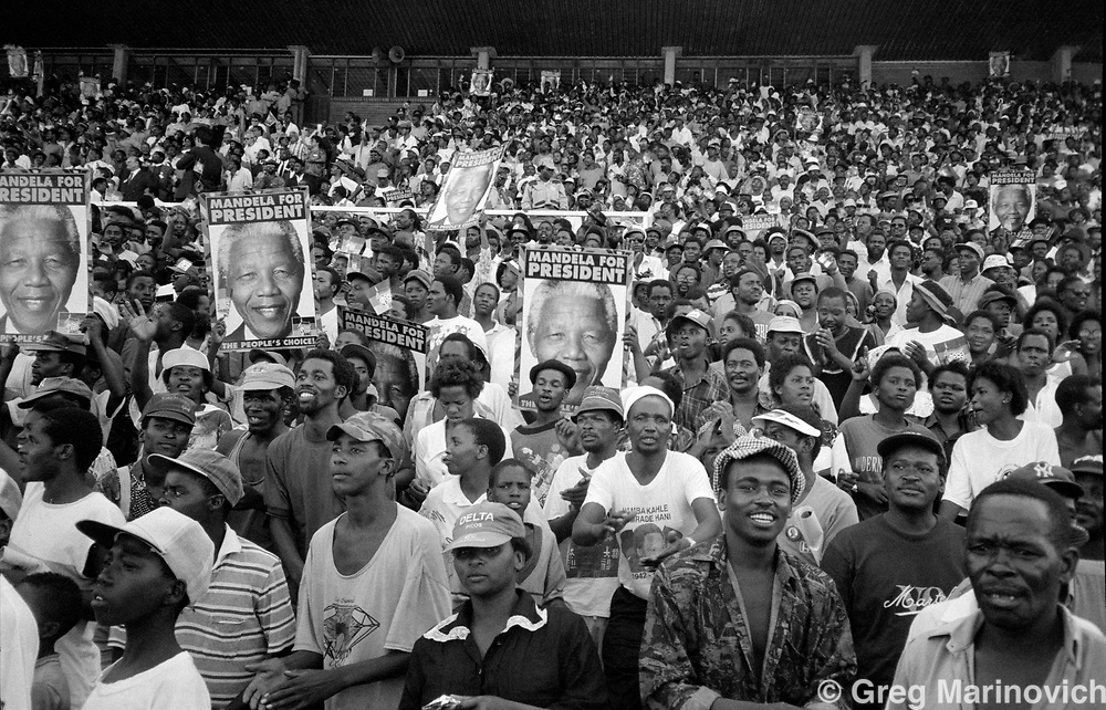 ANC supporter  at a rally addresed by Nelson Mandela, South Africa. 1994