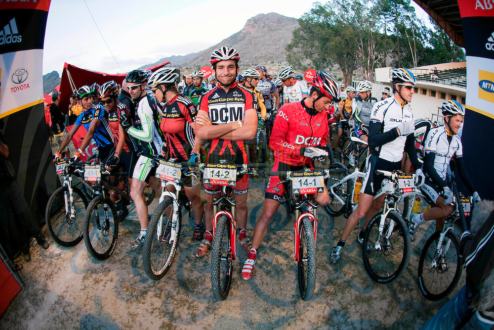 Max Knox of DCM 2 looks happy to be in the African Leaders jersey during stage four of the 2010 Absa Cape Epic Mountain Bike stage race from Ceres to Worcester in the Western Cape, South Africa on the 24 March 2010.Photo by Gary Perkin/SPORTZPICS