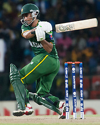 © Licensed to London News Pictures. 04/10/2012. Pakistani Imran Nazir batting during the World T20 Cricket Mens Semi Final match between Sri Lanka Vs Pakistan at the R Premadasa International Cricket Stadium, Colombo. Photo credit : Asanka Brendon Ratnayake/LNP
