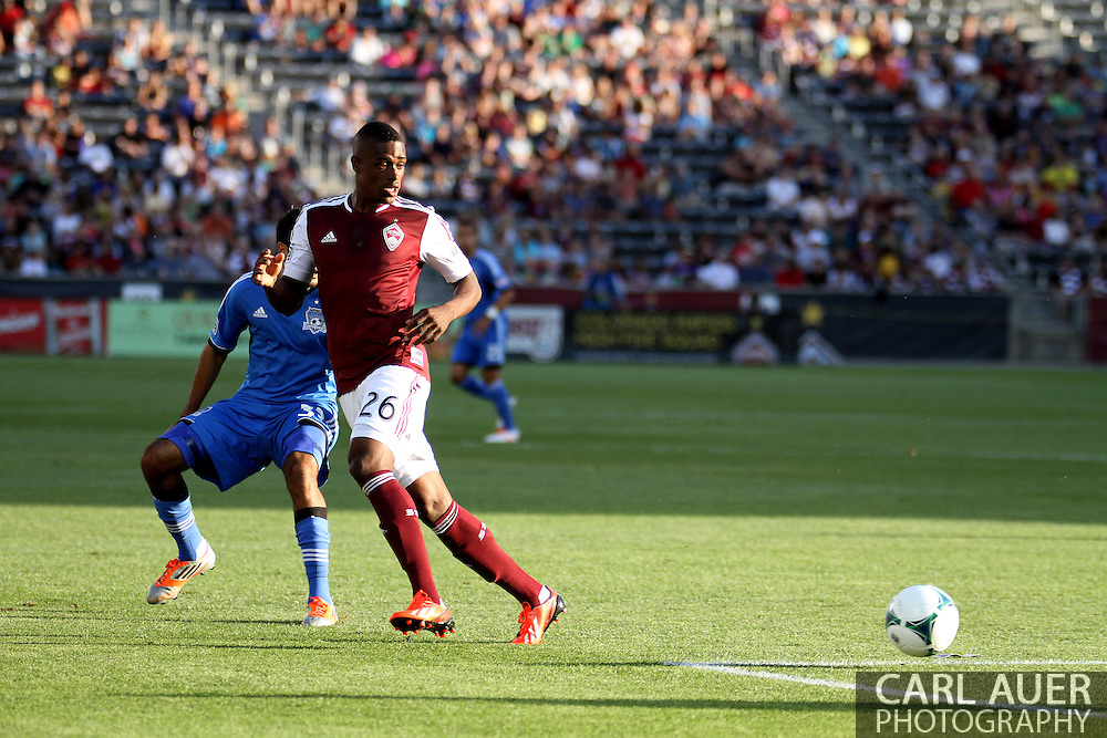 June 15th, 2013 - Colorado Rapids forward Deshorn Brown (26) puts himself between the ball and San Jose Earthquake defender Steven Beitashour (33) in the first half of action in the MLS match between San Jose Earthquake and the Colorado Rapids at Dick's Sporting Goods Park in Commerce City, CO