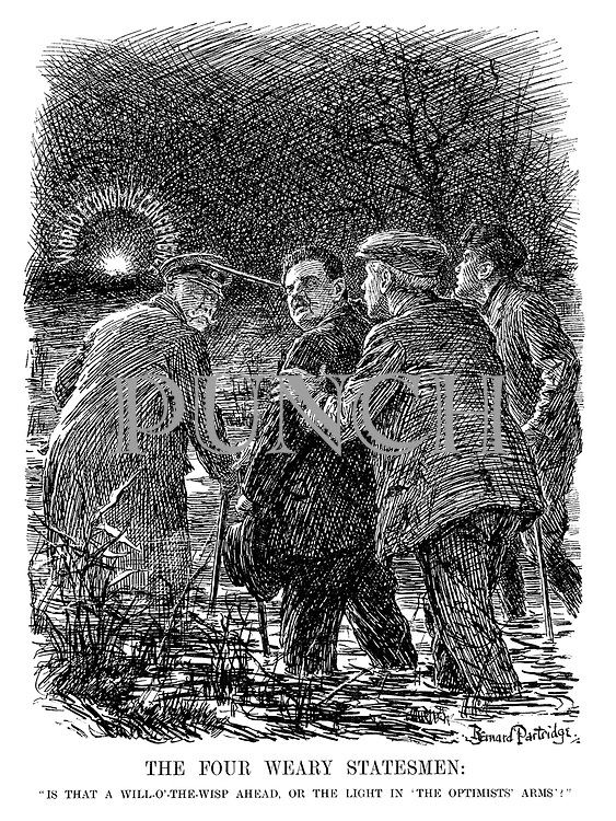 "The Four Weary Statesmen: ""Is that a will-o'-the-wisp ahead, or the light in 'the optimists' arms'?"" (Hindenburg leads Herriot, Mussolini and MacDonald to the World Economic Conference through a swamp)"