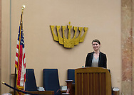 "Merrick, New York, USA. January 21, 2015. JANE BRADEN-GOLAY, from Schaffhausen, Switzerland, and President of the European Union of Jewish Students, is speaking at the Merrick Jewish Centre the night before she is scheduled to address - upon the invitation of Ambassador Samantha Power, U.S. Permanent Representative to the United Nations - ambassadors and civil rights leaders at Rep. Power's residence, after the first United Nations General Assembly meeting on rise of anti-Semitic violence worldwide. When asked about recent terror attacks in France (against French satirical weekly newspaper Charlie Hebdo in Paris), Braden-Golay said, ""It's all still so very fresh.... Europe is in a shock state right now"" but that she hoped in weeks to come ""for all of us to take responsibility for creating a Europe that doesn't give room to this sort of terror again."" AJC Long Island and Merrick Jewish Centre presented the event ""Terrorism in France - Where Do We Go From Here?"" with speaker Braden-Golay, a senior at the University of Zurich."