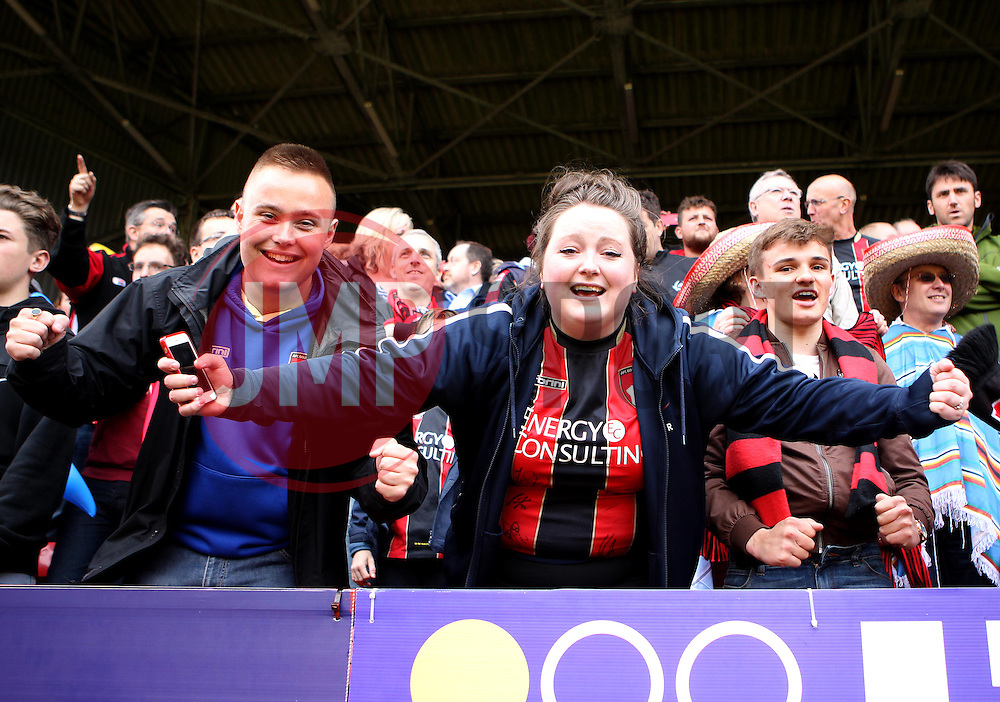 AFC Bournemouth fans celebrate becoming Champions - Photo mandatory by-line: Robbie Stephenson/JMP - Mobile: 07966 386802 - 02/05/2015 - SPORT - Football - Charlton - The Valley - Charlton v AFC Bournemouth - Sky Bet Championsip