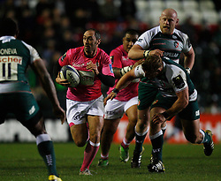 Julien Dupuy of Stade Francais (C) in action - Mandatory byline: Jack Phillips / JMP - 07966386802 - 13/11/15 - RUGBY - Welford Road, Leicester, Leicestershire - Leicester Tigers v Stade Francais - European Rugby Champions Cup Pool 4