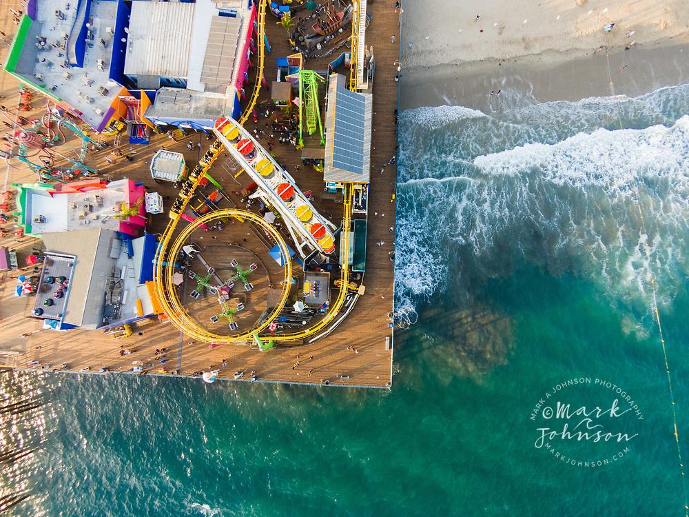 Aerial photograph of Santa Monica Pier, Santa Monica, Los Angeles, California, USA