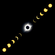 A composite of the 2017 Solar Eclipse as seen from Cedar Falls Park on Monday  August 21, 2017 in Fountain Inn, South Carolina. Photo by Brian Jenkins