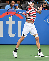 August 2, 2018 - Washington, D.C, U.S - JOHN ISNER hits a forehand during his 2nd round match at the Citi Open at the Rock Creek Park Tennis Center in Washington, D.C. (Credit Image: © Kyle Gustafson via ZUMA Wire)