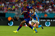 FC Barcelona Jean-Clair Todibo (6) breaks away to receive a pass ahead of SSC Napoli midfielder Allan (5) during a La Liga-Serie A Cup soccer match, Wednesday, Aug. 7, 2019, in Miami Gardens, Fla. FC Barcelona beat Napoli 2-1 (Kim Hukari/Image of Sport)